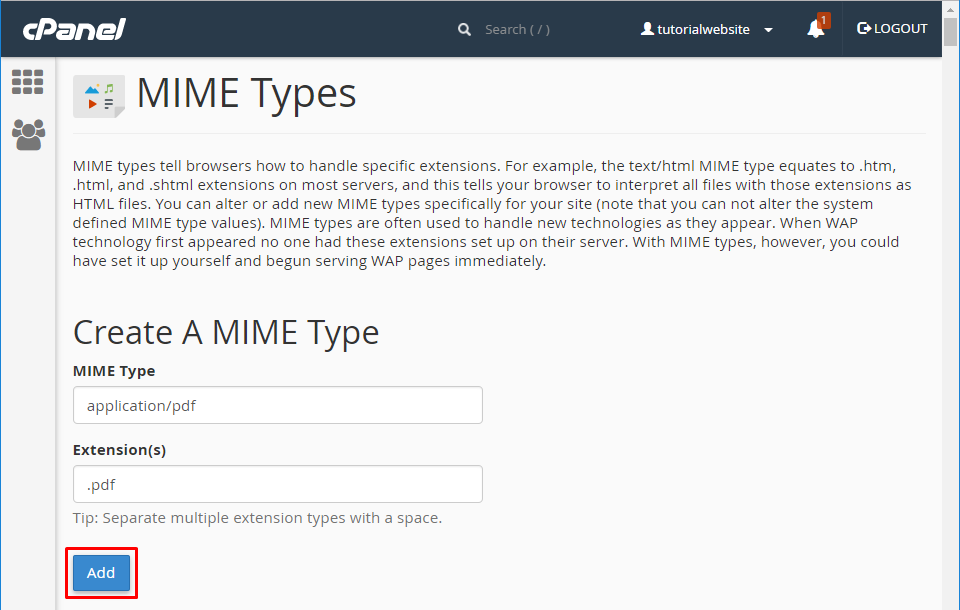 Enter the MIME Type and Its Extension