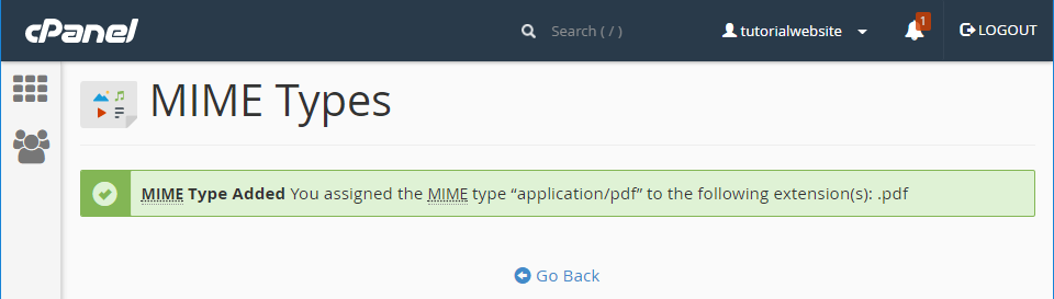 MIME Type Added Successful Message