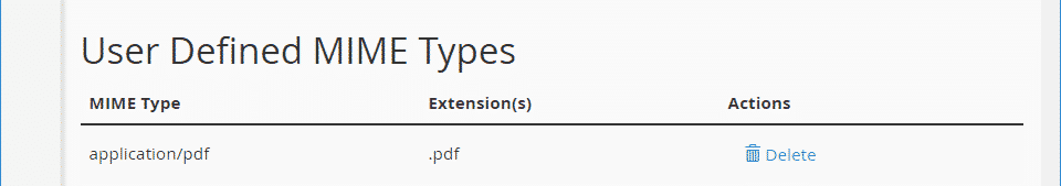 View the List of User Define MIME Types