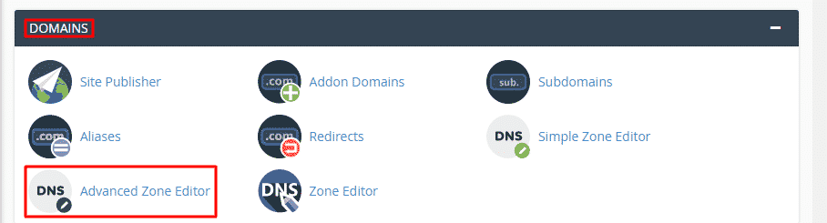 Go to Domains section and click Advanced Zone Editor.