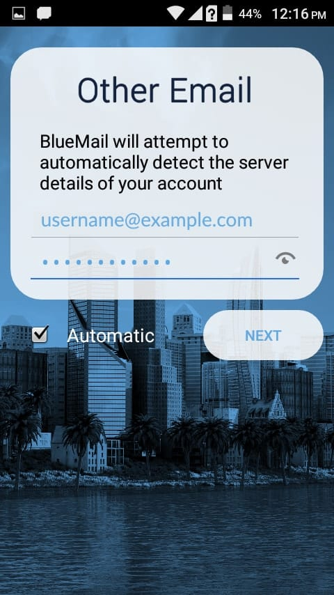 Enter the username and password on BlueMail