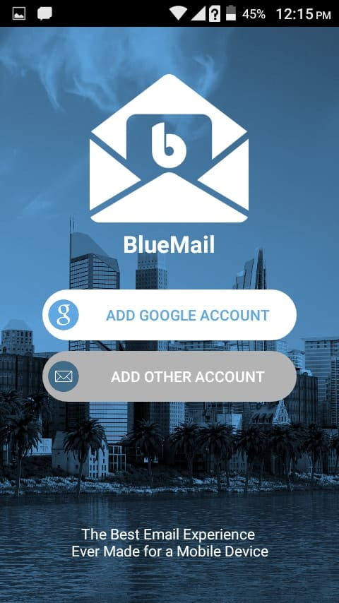 Open the Blue Mail Mobile Application and Select Other Accounts