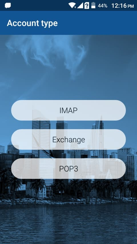 Select the IMAP Email Configuration on BlueMail