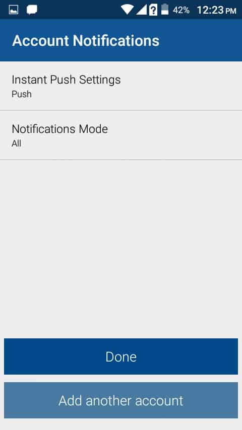 Setup the Email Account Notification Settings on BlueMail