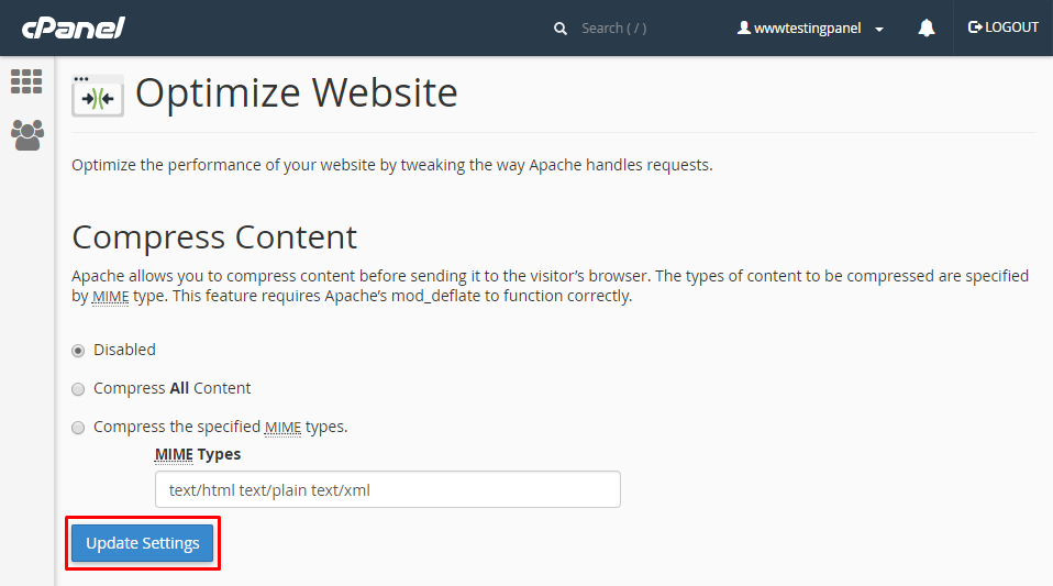 Disable the Compression for Contents on cPanel - ServerCake India