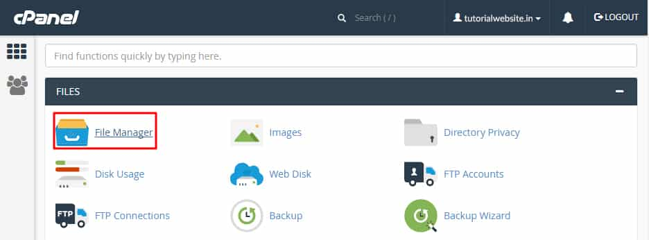 cPanel File Manager with Paper Latern Theme