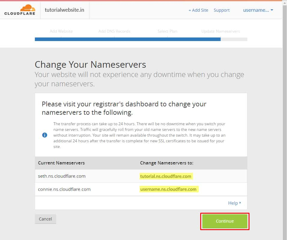 name server of CloudFlare is shown and click continue.