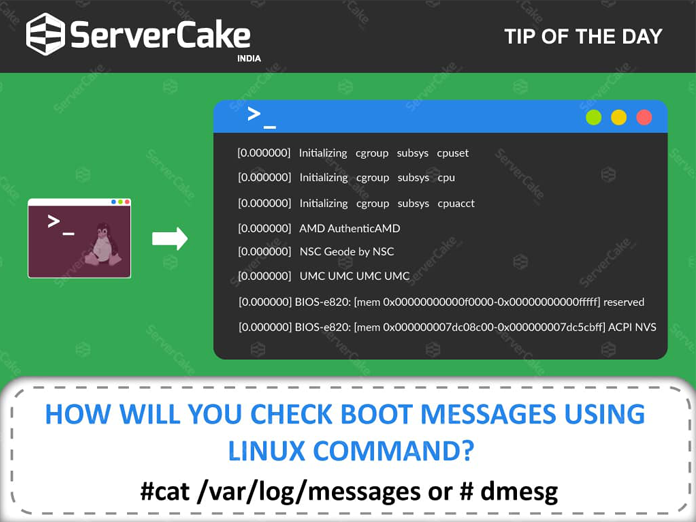 How will you check boot messages using Linux Command