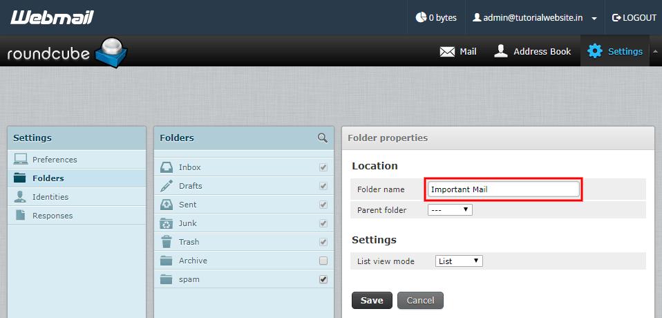 Enter the folder name in RoundCube textbox