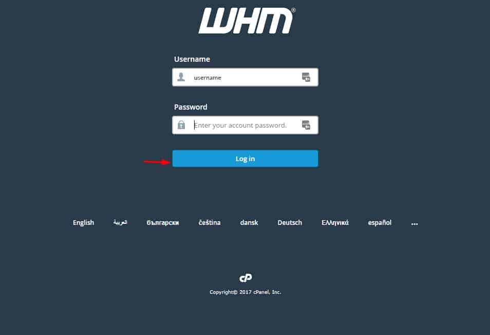 Enter your respective username and password and press Login button. It redirects to the WHM Homepage.