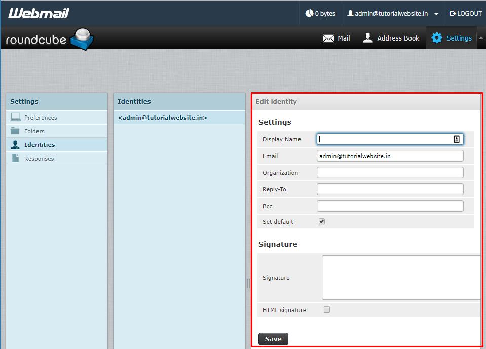 Fill the fields in identity settings