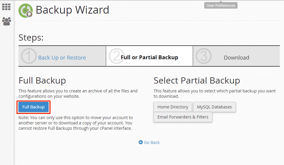 how to create a backup server