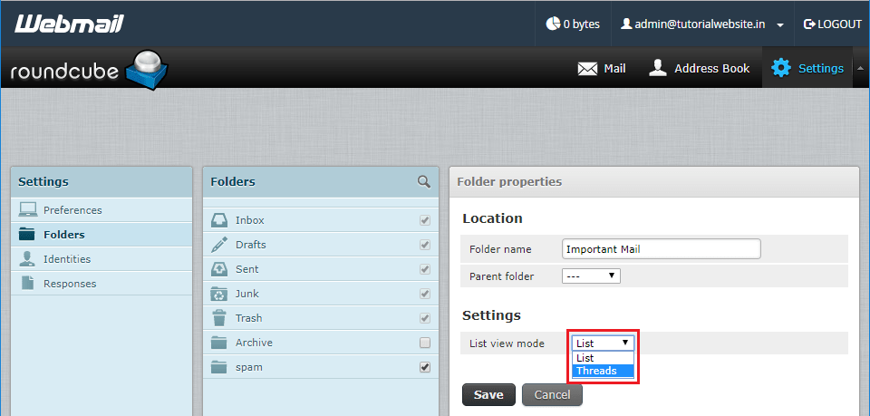 Select the View mode under the settings