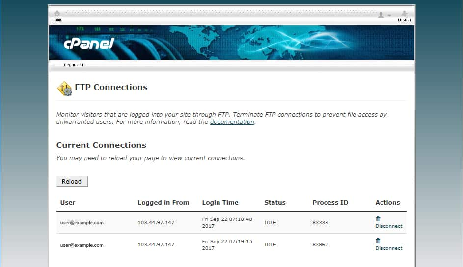 The list of FTP connections can be displayed under Current Connections.