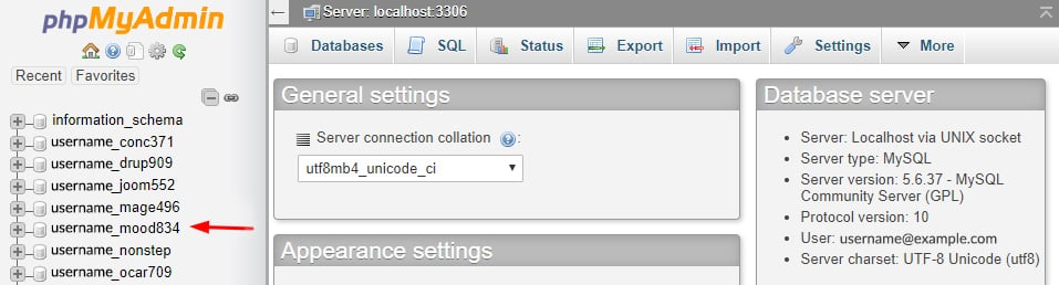 phpMyAdmin Main Page andGo to Left pane. It has the list of Database available.