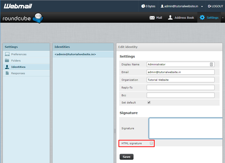 You can enabled the HTML signature option