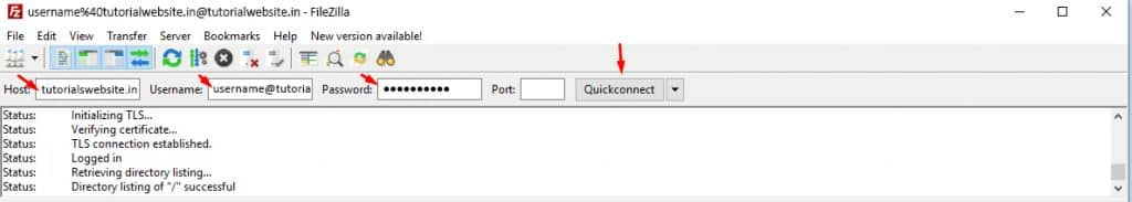 Enter the hostname, username and password then click the quick connect.