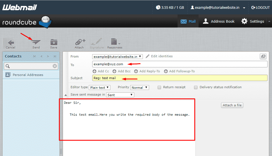 Enter the required fields to compose an email