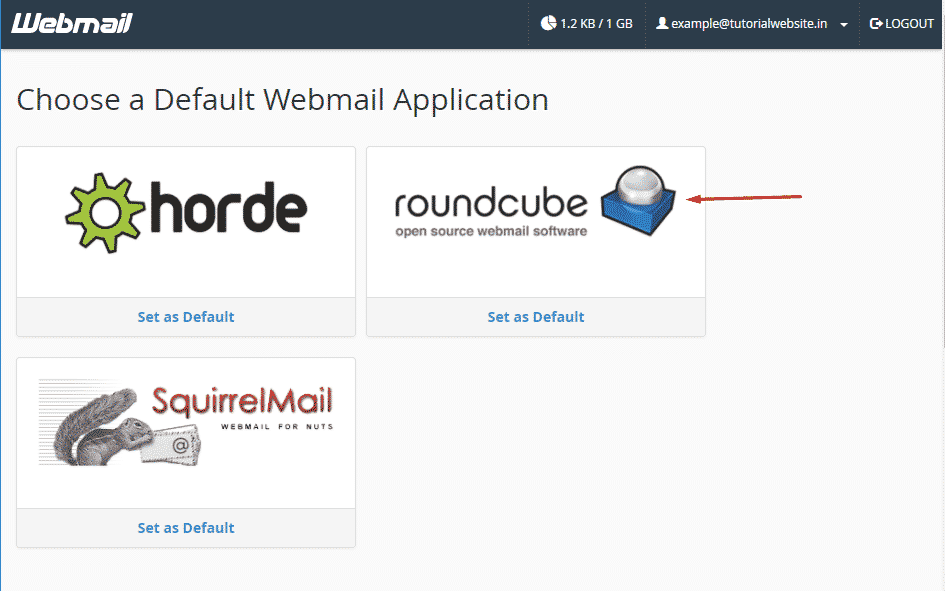 Login to webmail and click the option RoundCube