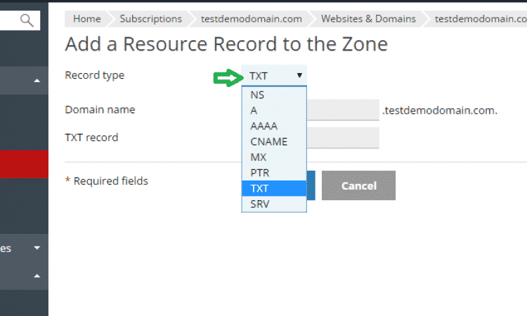 click choose record type
