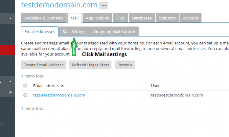 click mail setting
