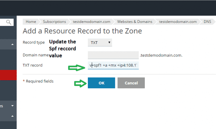 update spf record