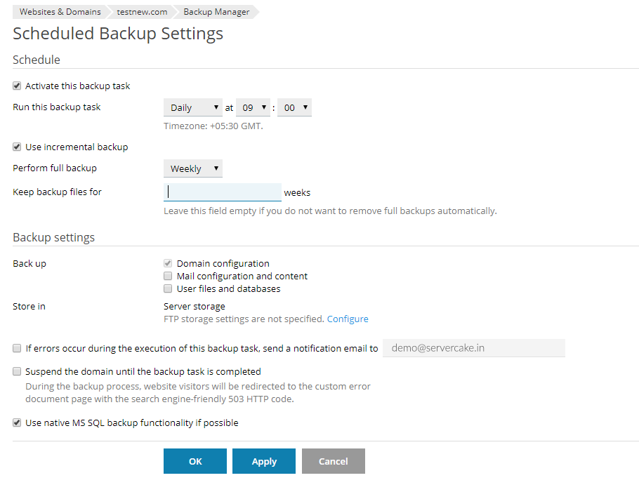 tic Scheduled Backup settings