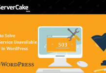 503 service error in wordpress