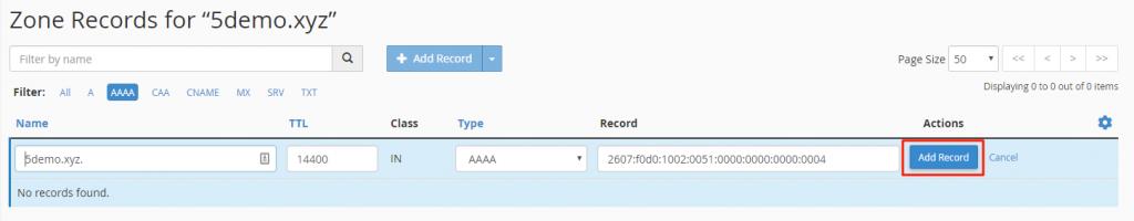 Click the option Add Record
