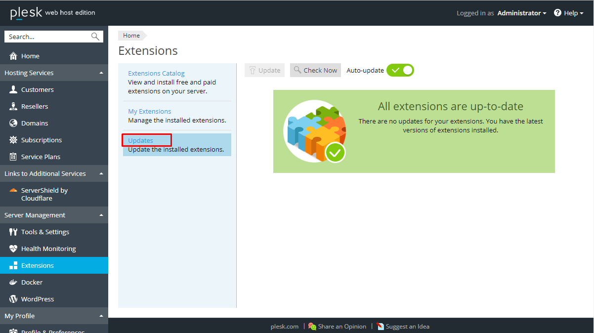 How to Manage Extensions in Plesk? - ServerCake India