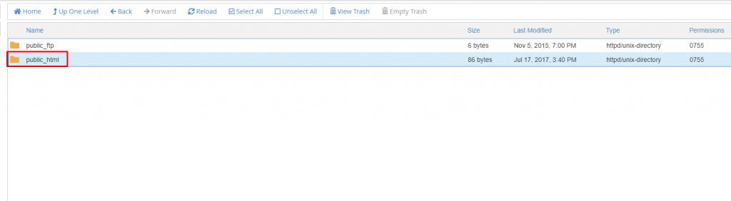 Go to the folder public html