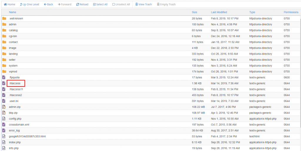 Locate htaccess file