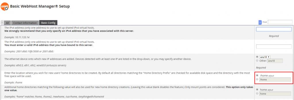 Default Directory Location