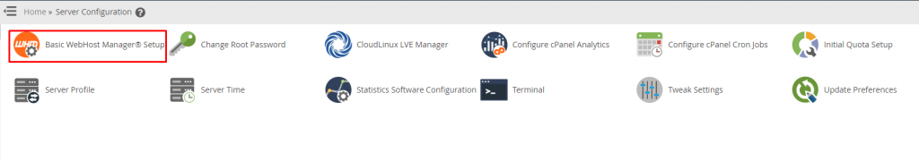 Select Basic WHM Config Setup