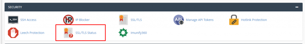 Select SSL TLS Status in cPanel